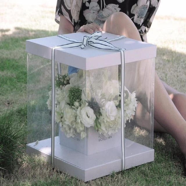 Clear Square Pvc Transparent Hand Flower Box Packaging Bouquet Gift