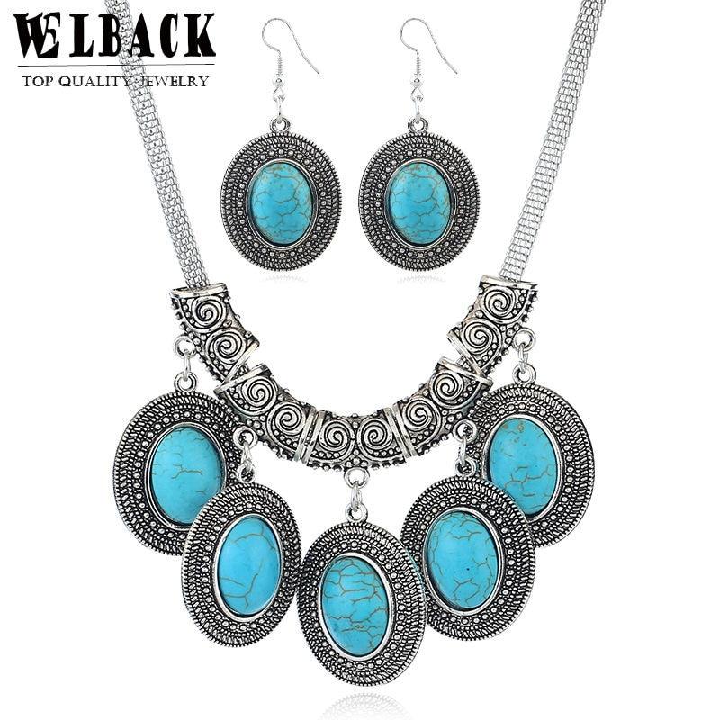 Welback Jewelry Set Round Rhinestone Dangle Earrrings Party Anniversary Chocker Necklace