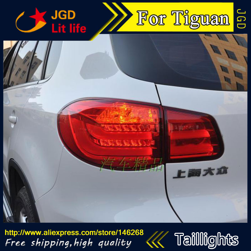 Car Styling tail lights for VW Tiguan 2010-2014 LED Tail Lamp rear trunk lamp cover drl+signal+brake+reverse hot sale abs chromed front behind fog lamp cover 2pcs set car accessories for volkswagen vw tiguan 2010 2011 2012 2013