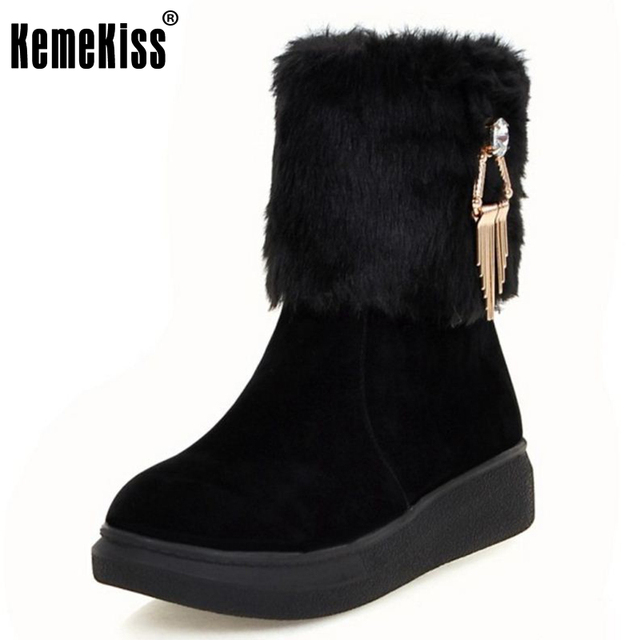 Womens Round Toe Faux Fur Lined Winter Warm Metal Decor Mid Calf Boots Snowboots