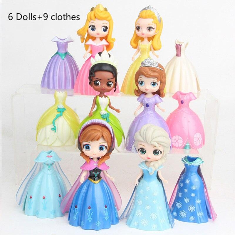 6pcs Disney Anime Figure 4th Q Version Princess Change Clothes Dolls Dress Figurines PVC Action Figures Girls Toys for girl2DS02 hatsune miku winter plush doll