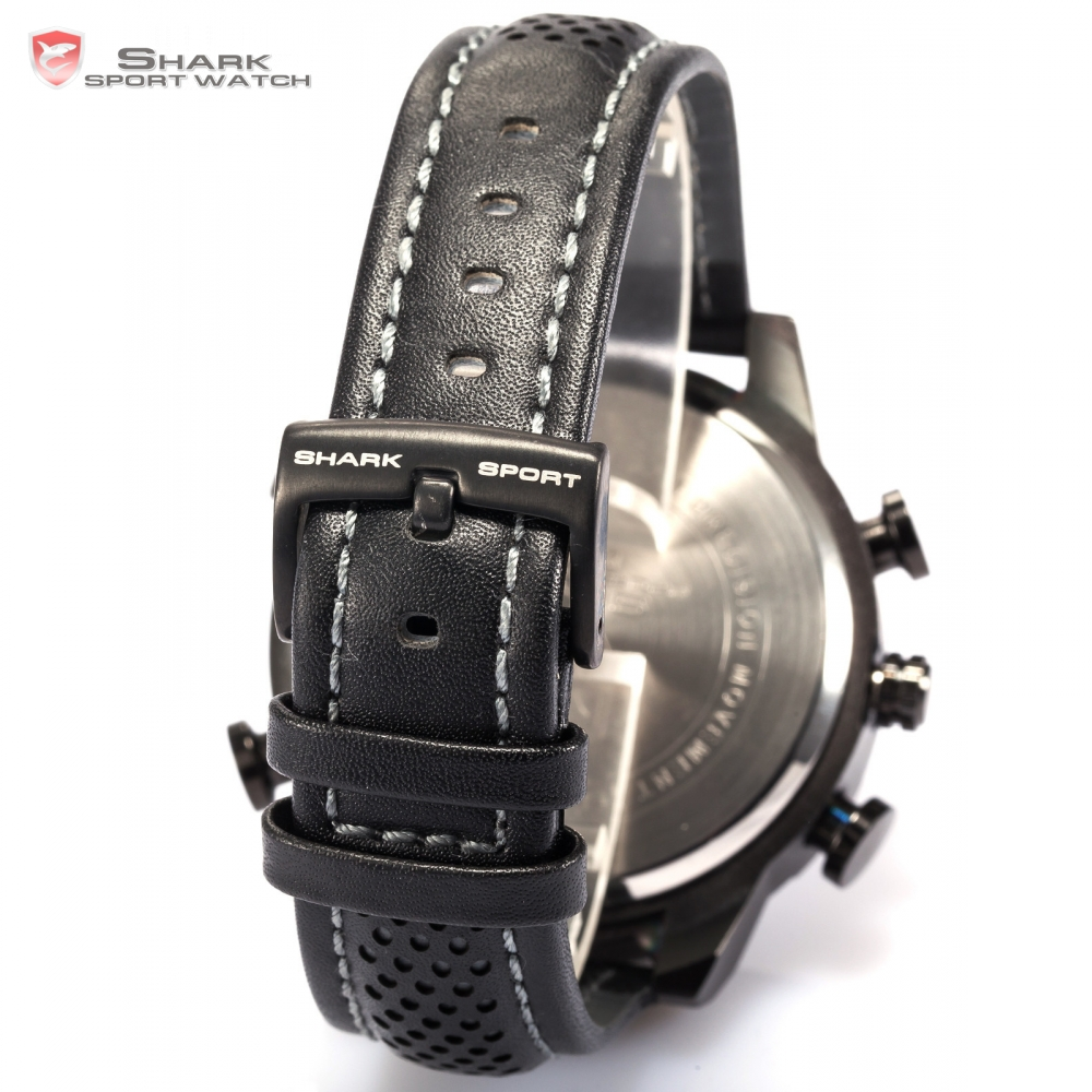0050c8ad250 Shark Sport Watch Black Dual Time Zone Quartz LED Display Alarm Auto Date  Leather Strap Band Military Men Digital Watches  SH234-in Sports Watches  from ...