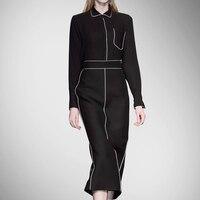Новое поступление естественно Ни Регулярный Твердые Краткая спандекс осень Шелковый Платья для женщин Для женщин новое платье боди черног