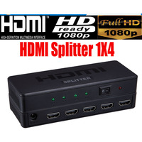 Full HD HDMI Splitter 1X4 4 Port Hub Repeater Amplifier V1 4 3D 1080p 1 In