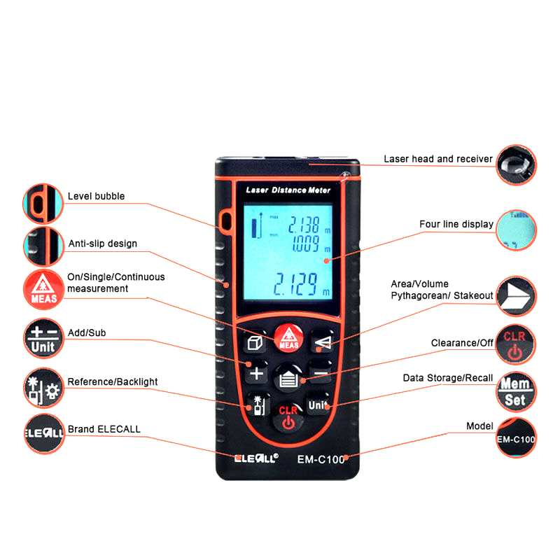 EM-C100 100m/328ft Bubble Level Rangefinder Area/Volume Tape Measure Laser Measuring Tool  Digital Laser Distance Meter 40m leter cp40s laser distance meter bubble level rangefinder range finder tape measure tool area volume m in ft
