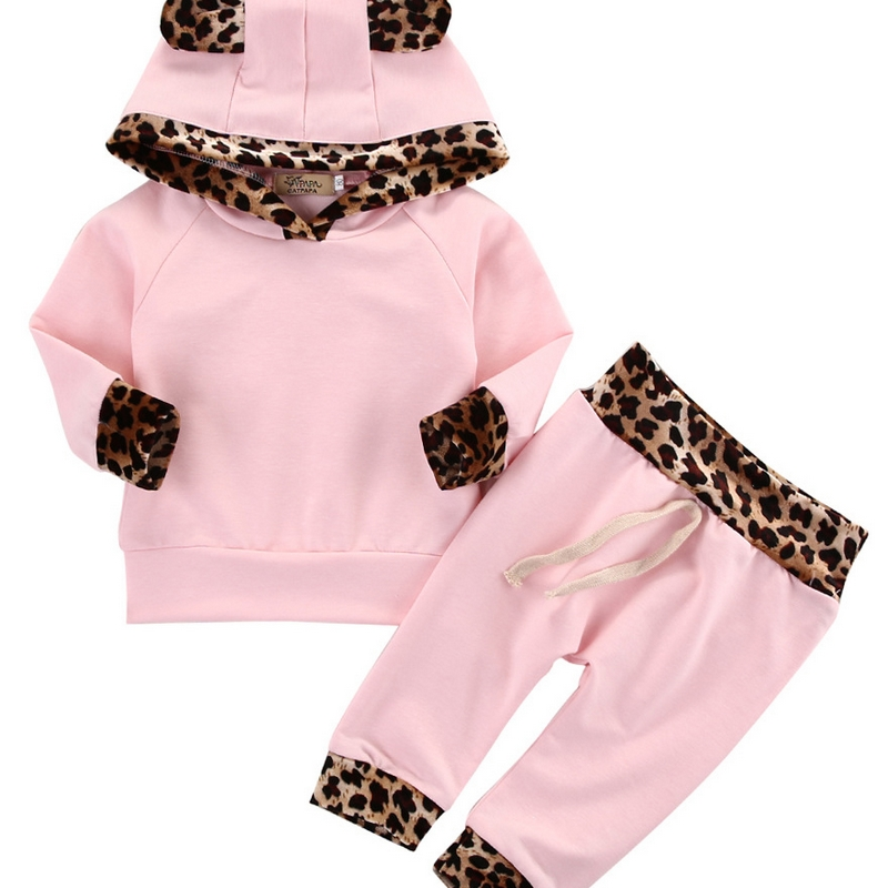 Spring Infant Girls Clothing Sets Casual Leopard Print Tracksuit Kids Sweatshirts+Pants Suit Toddler Sports Baby Suit