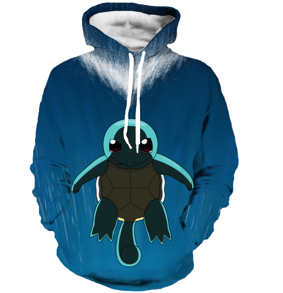 Men Women Harajuku Sweatshirt Outerwear Cartoon Pokemon Hooded Sweatshirts Cute Squirtle 3D Hoodies Pullovers
