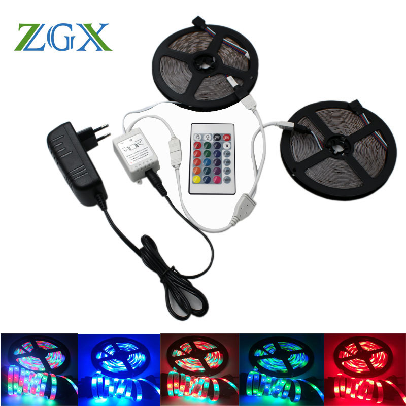SMD 2835 RGB LED Strip light tira lamp neon 300LED Decor Flexible Tape waterproof diode ribbon 24K Controller DC 12V adapter set