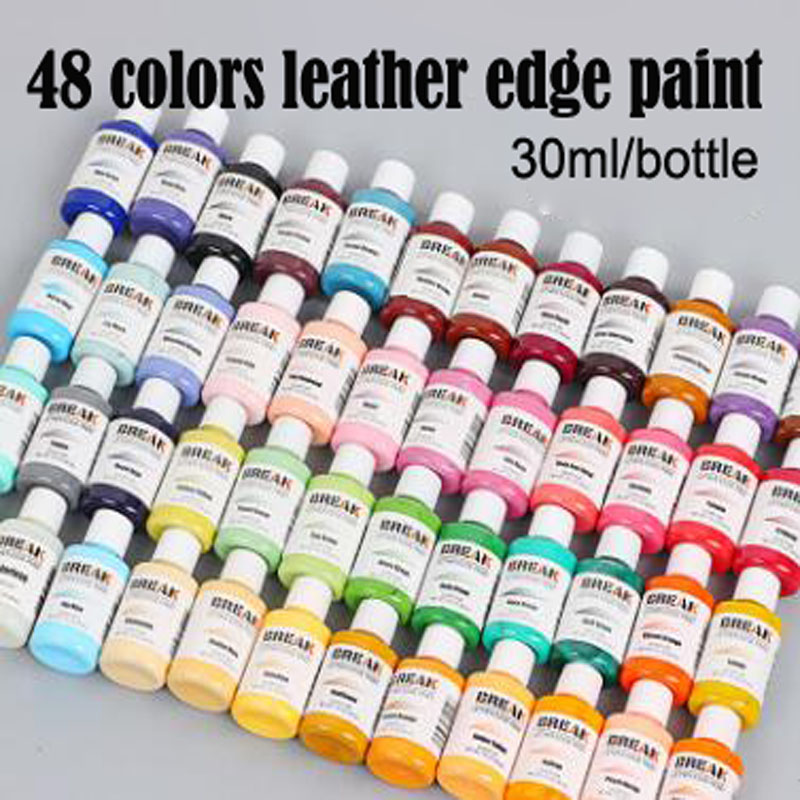 New 50 Colors Chooseing 30ml Bright Light Colorful Paint Leather Edge Oil Edge Dye Highlights Edge Paint Color 1-24