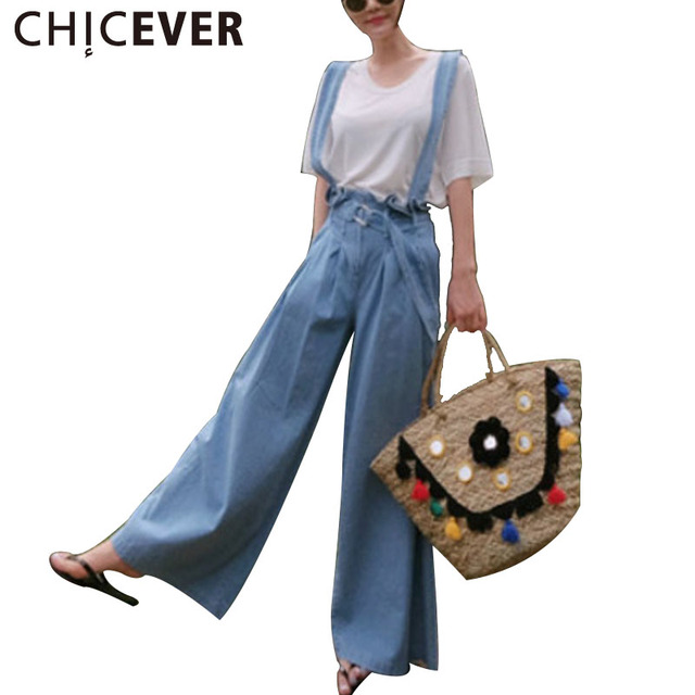 CHICEVER Summer Loose Strap Trousers For Women Denim Jeans Female Pants 2017 Lace Up Wide Leg Pant Women's Jean New