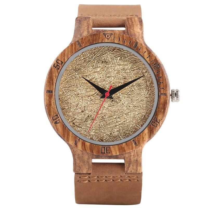 Wood Watch Clock Quartz Analog Unique Modern Genuine-Leather 4-Colors Band Steampunk