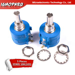 5pcs 10 3590S-2-103L 3590S K ohm Precisão Multiturn Potenciômetro 10 Anel Ajustável Resistor