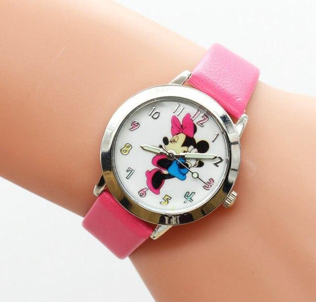 2016 Fashion Watch Mickey minnie Children Cartoon Watch Leather Wristwatch Casua