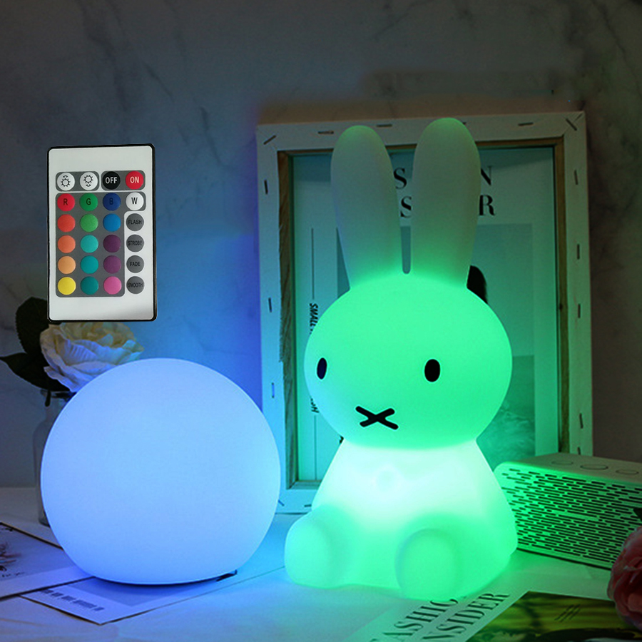 BEIAIDI 28CM RGB Bunny Rabbit LED Night Light USB Rechargeable Cartoon Animal Table Lamps Kids Baby Toy's Light Christmas Gift colorful led rabbit night light bear table lamp rechargeable children baby kids birthday christmas gift animal cartoon led lamp