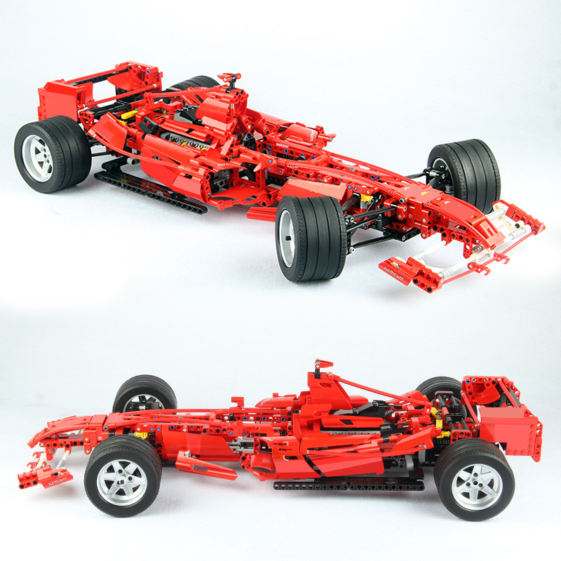 1242pcs Red F1 Formula Racing Car 1:8 Technic Series the Model Set Building Blocks Bricks Compatible Legoinglys 8461 Kids Toys цена