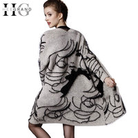 2016 New Auntumn Character Print Medium Length Women Cardigans Plus Size Casual Oversize Scarf Drop Shoulder