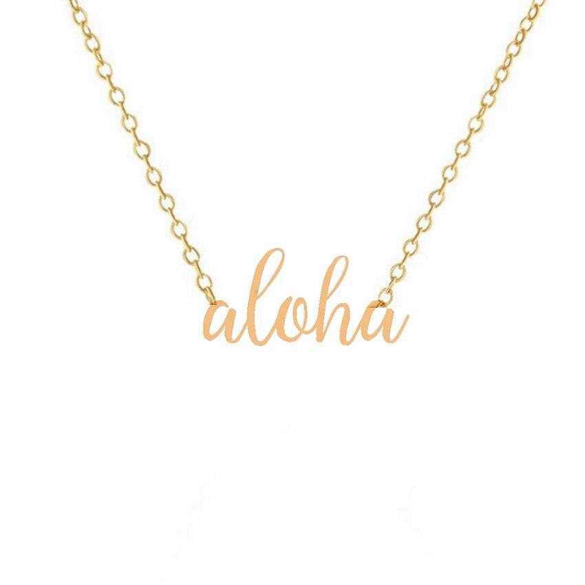 100 pièces hawaïen lettrage Aloha collier en acier inoxydable or argent couleur colliers personnalisés pour les femmes