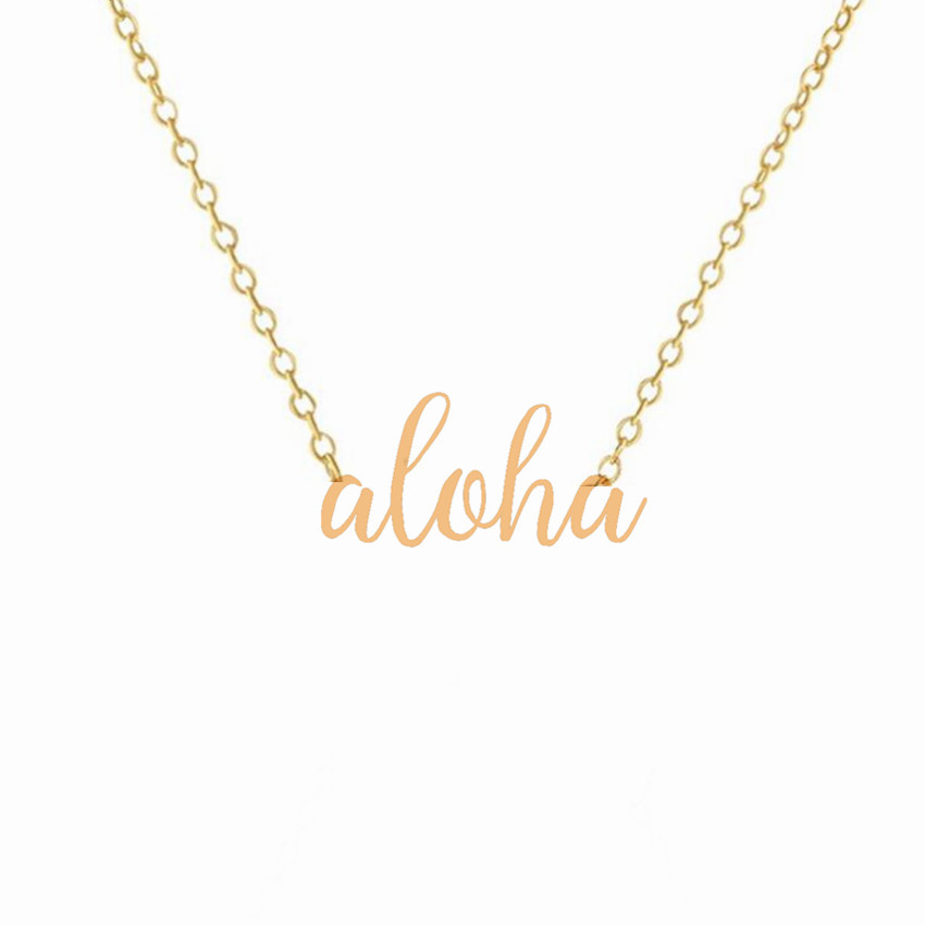 100PCS Hawaiian Lettering Aloha Necklace Stainless Steel Gold Silver Color Custom Necklaces for Women100PCS Hawaiian Lettering Aloha Necklace Stainless Steel Gold Silver Color Custom Necklaces for Women