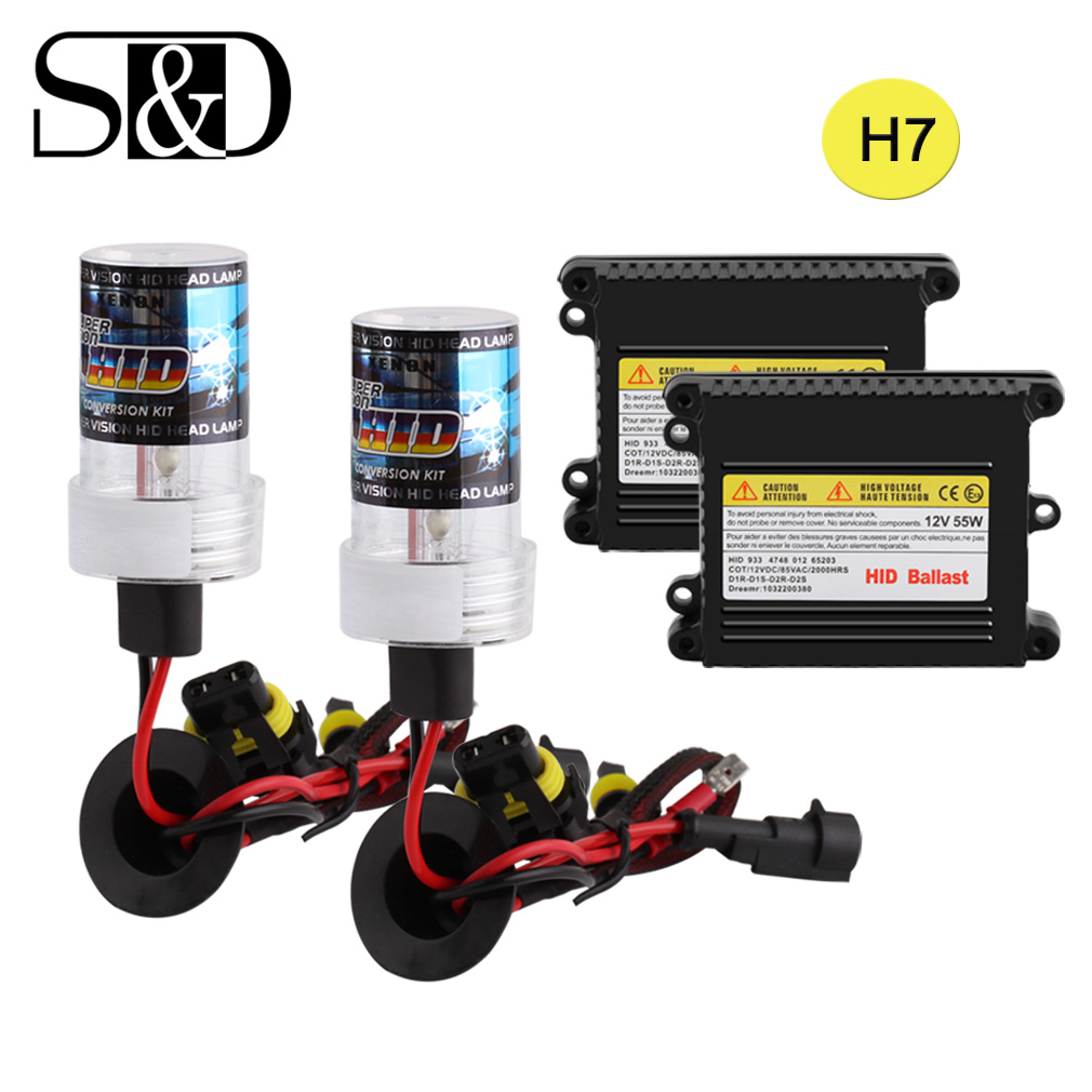 HID Xenon Conversion Kit H7 Headlight Bulbs Ballast Block Car Light Source 12V 55W Auto H7 Xenon Lamp White Yellow D030 free shipping hid xenon d2 high quality ballast 1pc power conversion ballast head light d2s d2c d2r of car light source