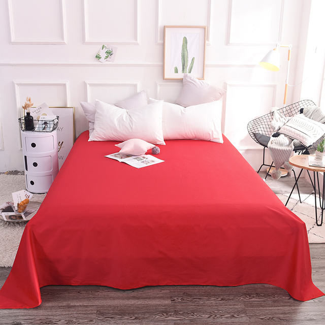 Incroyable Bright Red Solid Color 1pcs 100% Cotton Soft Bedding Solid Sheets Home  Textie Bed Sheet