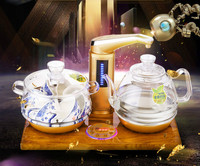 Full intelligent automatic water electric kettle with golden pear wood base glass tea stove Overheat Protection