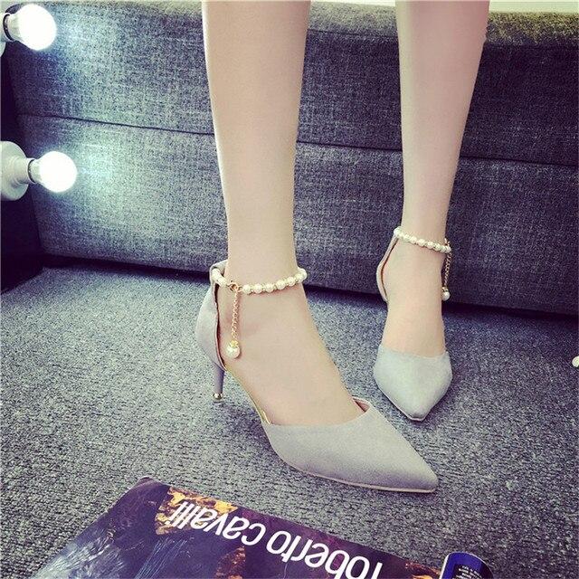 2016, лето, новый бисером слово пряжки сандалии мелкая рот указал в порядке с сексуальными туфли на высоком каблуке моды дикие синглов обувь