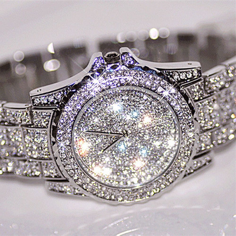 2020 Նոր ժամանումը շքեղ կանանց ժամացույցներ Rhinestone Crystal Wristwatch Lady Dress Ժամացույց տղամարդկանց շքեղ անալոգային քվարց ժամացույցներ Relogio