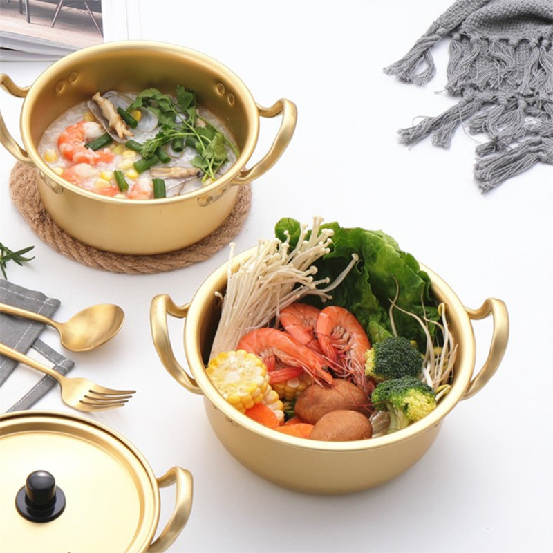 Color : 1.5L Korean Ramen Pot Yellow Aluminum Ramen Noodles Pot Korean Soup Pot with Lid Milk Egg Soup Cooking Pot Fast Heating for Kitchen Cookware Tool 1pc