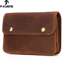 P.Kuone Men's Pockets Genuine Leather Belt Waist Bag Buckle man pocket Multi-function Leather purse Mountaineer big Waist Bag