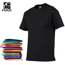 ENZGZL 2018 Solid color T Shirt Mens Black White 100% cotton T-shirts Summer Style Short Sleeve Tee Boy Skate Male Tshirt Tops(China)