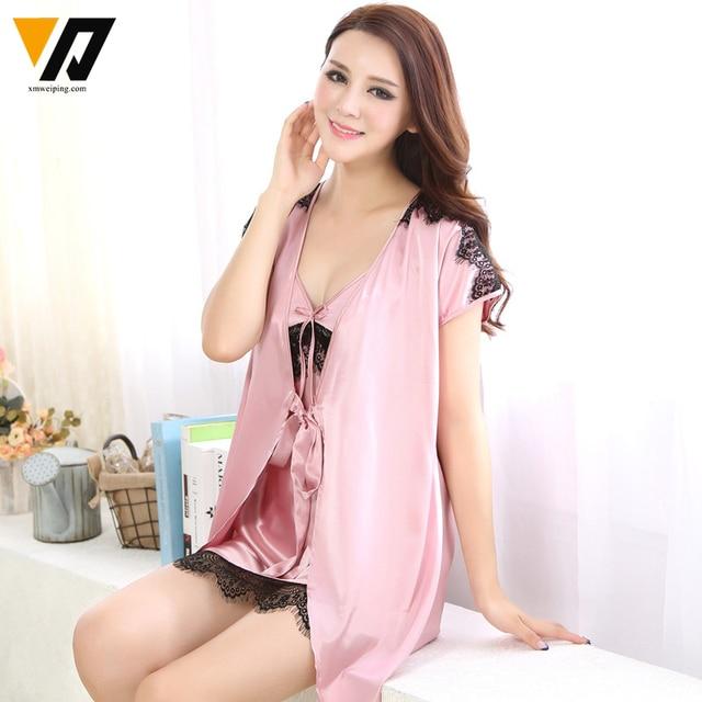 XMWEIPING Silk Nightgowns Ladies Nightdress Bath Robe Women Pyjamas Lounge Two-piece V-neck Short Sleeves Sleepwear Set M-XXL