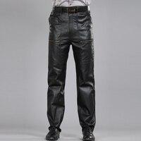 Черные штаны из натуральной кожи мужские модные повседневные брюки для мотоциклистов больших размеров мужские брюки мужские джоггеры из о