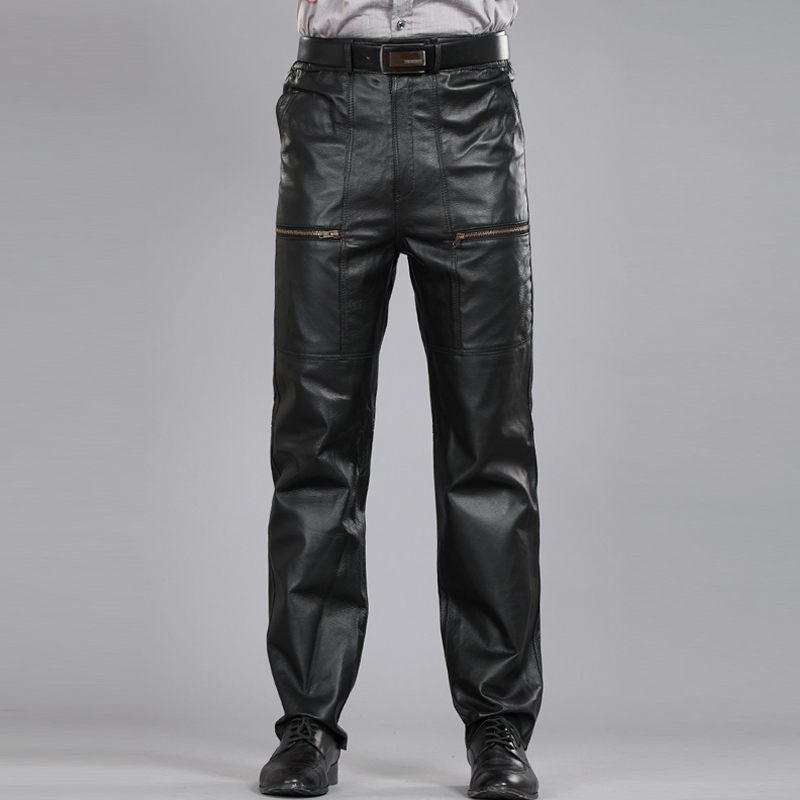 Черные брюки из натуральной кожи, мужские Модные Повседневные мотоциклетные штаны больших размеров, мужские брюки, мужские штаны из натуральной овчины