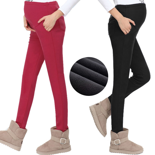 Winter Warm Maternity Pants for Pregnant Women Plus Velvet Pregnancy Clothes for Autumn Pregnant Clothing Cotton Leggings