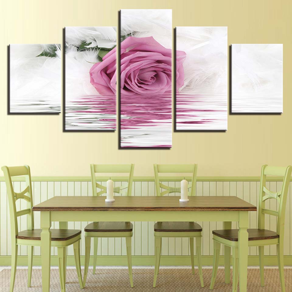 Canvas HD Prints Paintings For Living Room Home Decor 5 Pieces Pink ...