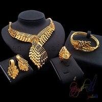 Turco oro Dubai sistemas de la joyería de Moda pulsera de la joyería