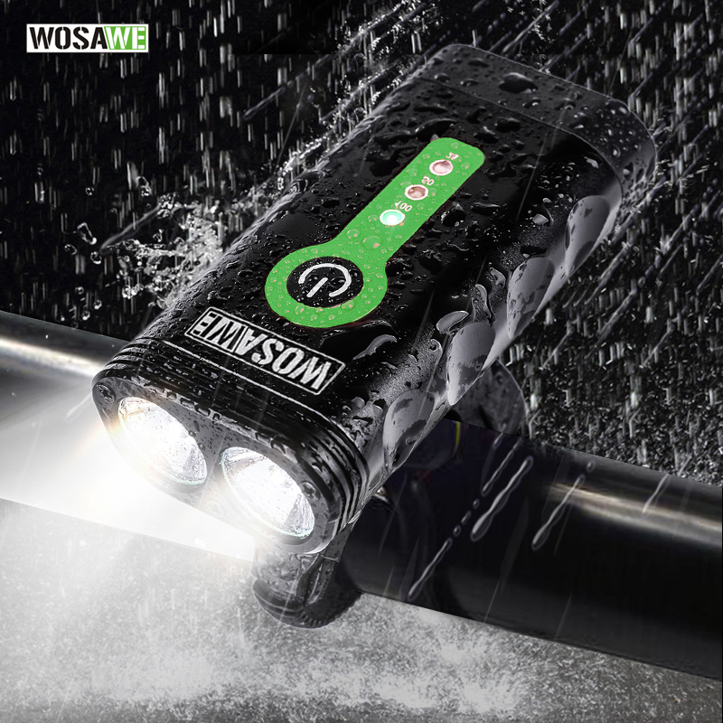 WOSAWE USB Rechargeable Bicycle Flashlight 2400 Lumens Waterproof Bright Lights MTB Mountain Road Bike Light Lamp
