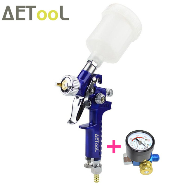 AETool 1.0MM Nozzle Professional HVLP Spray Gun Mini Air Paint Guns Airbrush With Air Regulator Gauge For Painting Car Aerograph