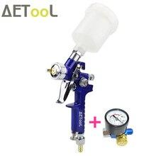 Aetool boca profissional para pintura, hvlp pistola de pulverização aérea 1.0mm com regulador de ar para pintura de carros aerógrafo,