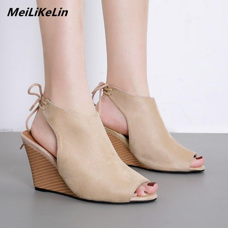 Sadnals Partie Meilikelin Bois Retour Chaussures Grain Pompes Wedge black Hauts Coins Sandales Ouvert Apricot Femmes Lacets Zapatos Talons Bout À Dames TaqTrpw