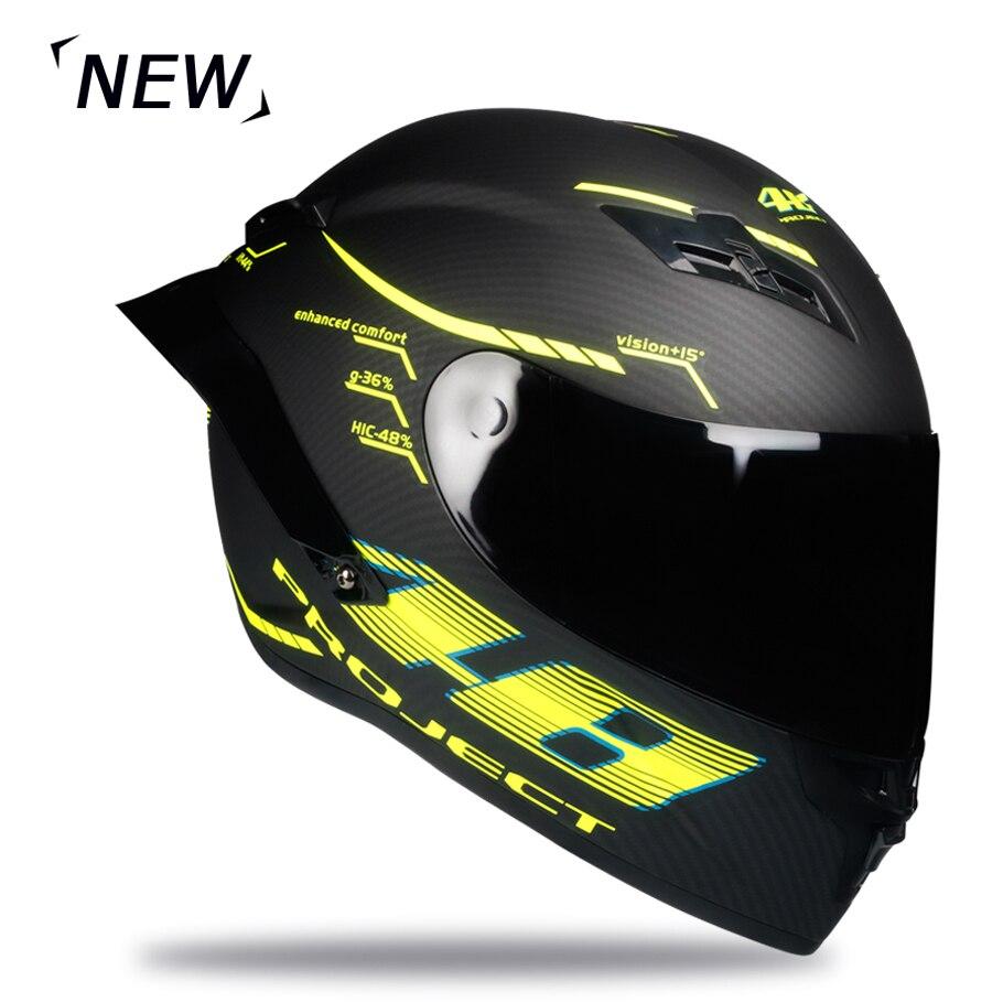 Casque de moto en Fiber de carbone intégral casque de course professionnel Kask DOT arc-en-ciel visière Motocross hors route Touring - 6