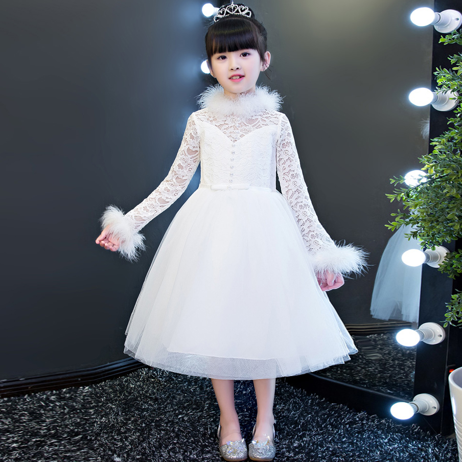 New Arrival Luxury Children Girls White Color Lace Princess Dress Kids Pageant font b Wedding b
