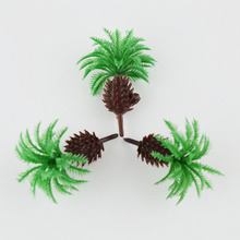 9PCS Architectural Model Train Layout Coconut Palm Trees Forest Scale Each Toys Green Trunk Landscape Simulation DIY Plastic