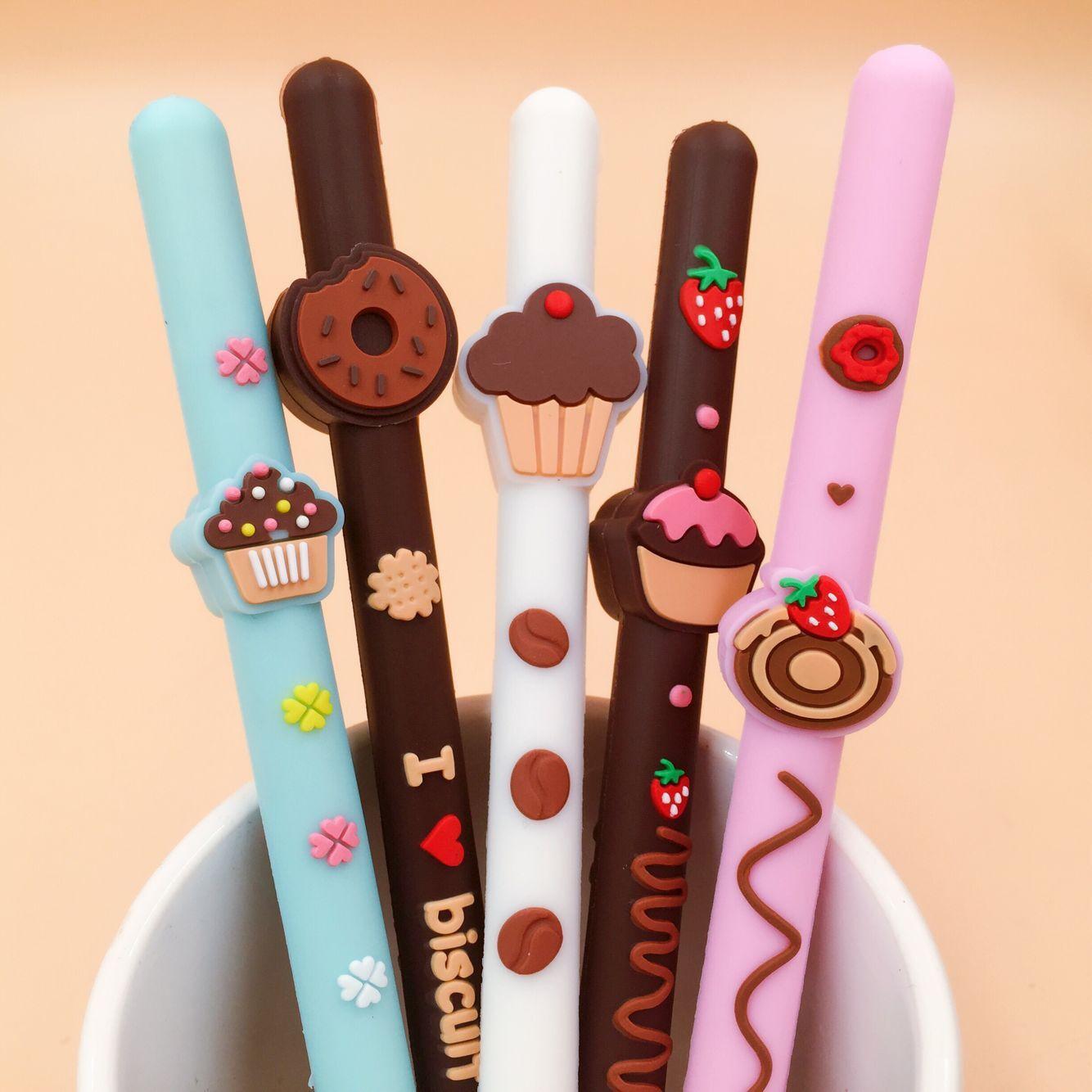 1 Piece Lytwtw s Korean Stationery Cute Biscuit Gel Pen School Office Kawaii Supply Handles Novelty