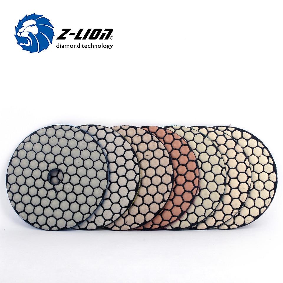 Z-Lion 7pcs/Set 4 Inch Diamond Dry Polishing Pads Honeycomb Shaped Premium Polish Disc Dry Polishing For Concrete Marble Granite