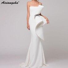 Elegant Formal Dress White Evening Dresses 2019 Satin Ruffles Beaded Saudi Arabic Mermaid Gown Long abendkleider