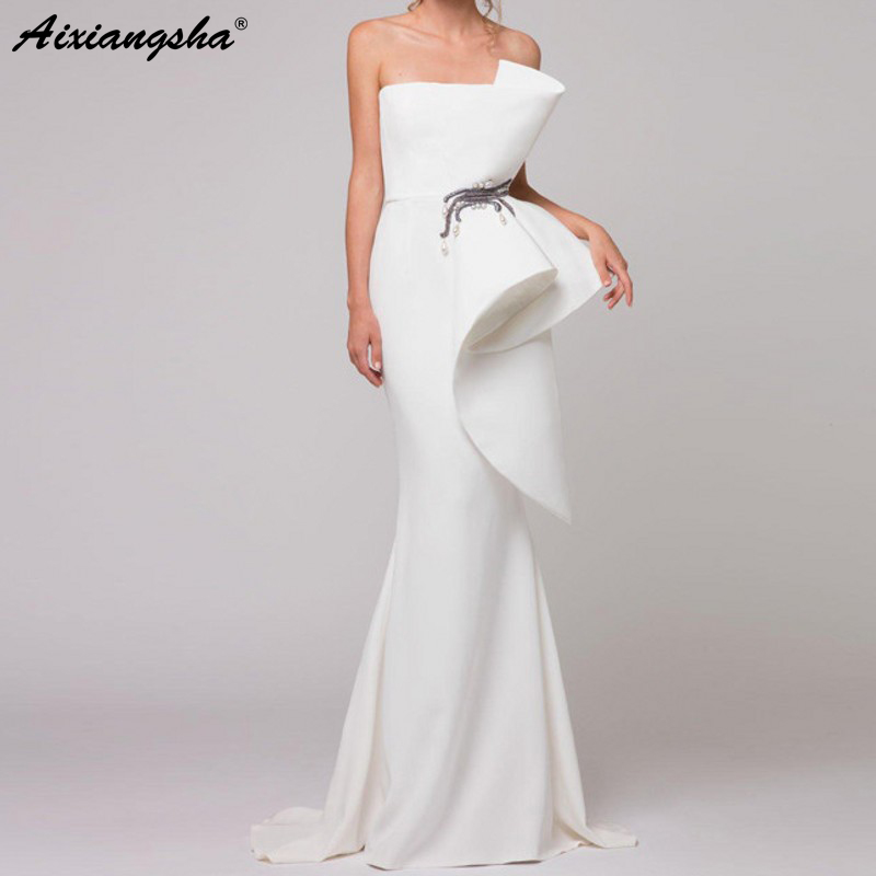 Elegant Formal   Dress   White   Evening     Dresses   2019 Satin Ruffles Beaded Saudi Arabic Mermaid   Evening   Gown Long abendkleider