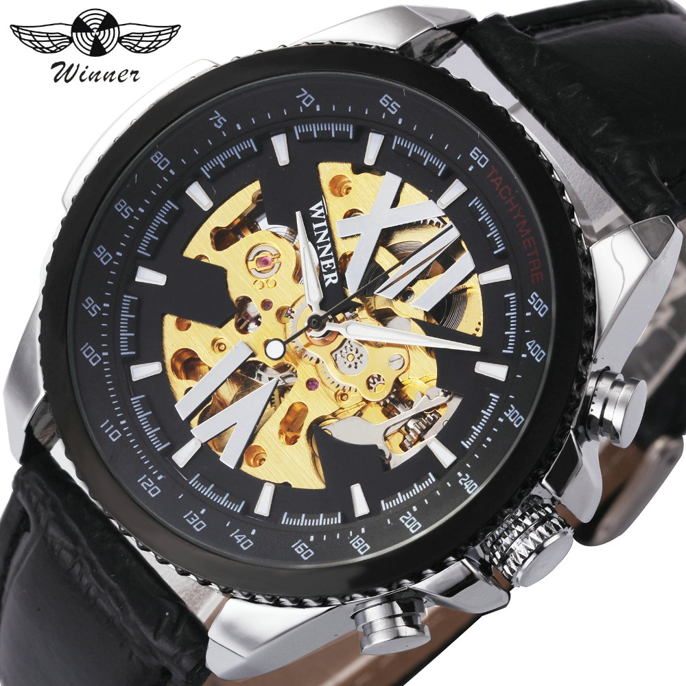 Mechanical Watches The Cheapest Price Winner Men Dress Fashion Automatic Mechanical Watch Leather Strap Super Roman Number Skeleton Dial Cool Black Design Wristwatch