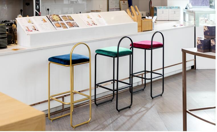 Nordic Bar Chair Modern Simple Light Luxury High Stool Back Chair Metal Iron Arts Household Creative Personality Bar Chair