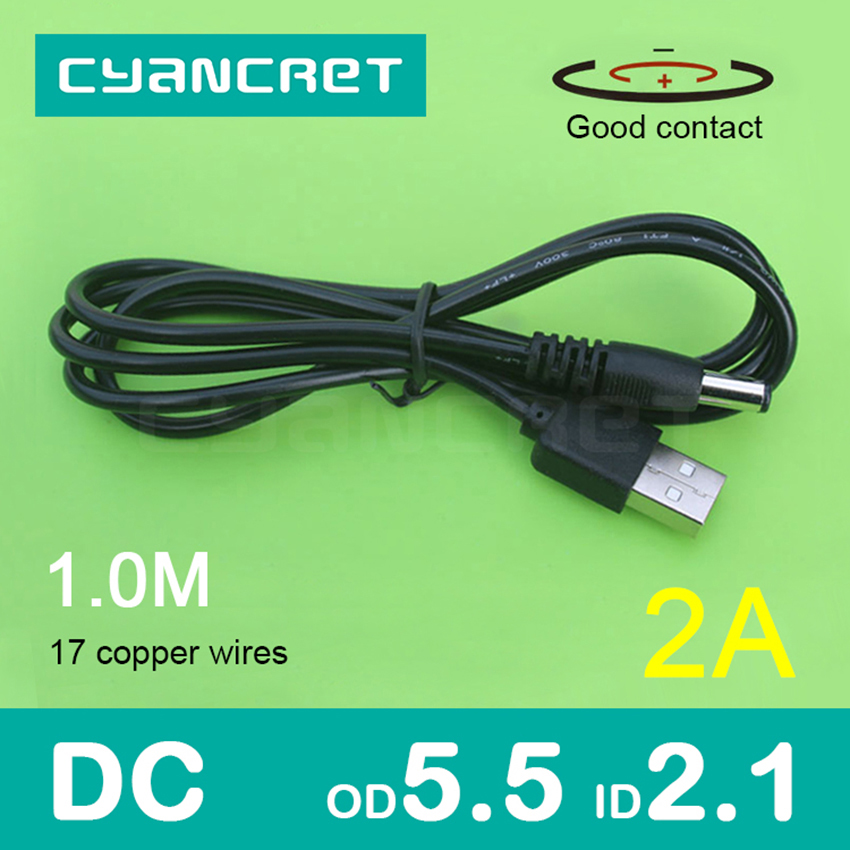 Activo Cable De Alimentación Usb 2,0 A Dc 5,5mm X 2,1mm 1,0 M 2a De Apoyo 5 V O 12 V Cable Conector Cargador Para Lámpara De Mesa Tableta Mp3 Mp4